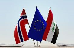 Bandeiras da UE de Noruega e do Iraque fotos de stock