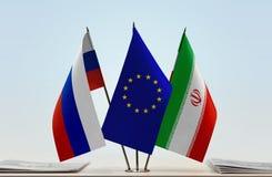 Bandeiras da UE de Rússia e do Irã fotografia de stock royalty free