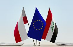 Bandeiras da UE do Polônia e do Iraque fotografia de stock royalty free