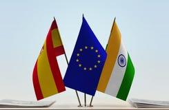Bandeiras da UE da Espanha e da Índia imagem de stock