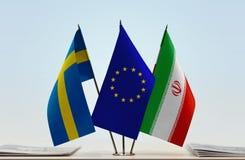 Bandeiras da UE da Suécia e do Irã imagens de stock royalty free