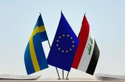 Bandeiras da UE da Suécia e do Iraque fotos de stock