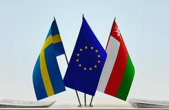Bandeiras da UE da Suécia e do Omã fotos de stock