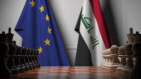 Bandeiras da União Europeia e do Iraque atrás de peões no tabuleiro de xadrez Jogo de xadrez ou rivalidade política relacionada c ilustração do vetor