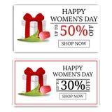Bandeiras da venda do dia das mulheres com caixa de presente e tulipa Giftbox verde Comprovante, insetos, convite, cartazes Vetor ilustração stock