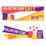 Bandeiras da venda do dia do ` s do Valentim Fotografia de Stock