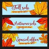 Bandeiras da venda do outono com as folhas douradas e do vermelho Fotos de Stock