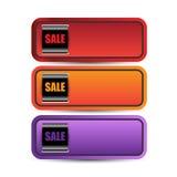 Bandeiras da venda ou do disconto da Web Fotografia de Stock