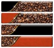 Bandeiras da Web com os feijões de café Roasted Fotografia de Stock