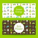 Bandeiras da Web da energia da ecologia sobre o verde Imagem de Stock Royalty Free