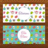 Bandeiras da Web do Teatime na textura de madeira Imagens de Stock Royalty Free