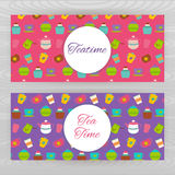 Bandeiras da Web do tempo do chá na textura de madeira cinzenta Foto de Stock