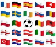 bandeiras das equipas nacionais para o fósforo de futebol Fotos de Stock Royalty Free