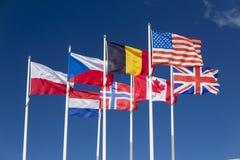 Bandeiras das forças aliadas, Normandy, França Foto de Stock Royalty Free