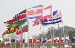 Bandeiras das nações diferentes unidas Fotografia de Stock
