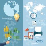 Bandeiras das transações de transferência do dinheiro do conceito do mundo do negócio Fotos de Stock Royalty Free