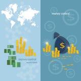 Bandeiras das transações do mapa do mundo de transferência de dinheiro da operação bancária do mundo Imagens de Stock