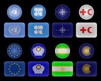 Bandeiras das uniões e das organizações Foto de Stock Royalty Free