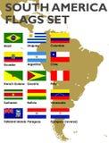 Bandeiras de Ámérica do Sul ajustadas ilustração stock