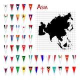 Bandeiras de Ásia Imagens de Stock