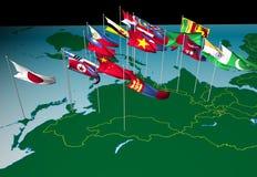 Bandeiras de Ásia no mapa (vista norte) Imagens de Stock