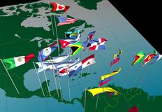 Bandeiras de América no mapa (vista central) Fotografia de Stock