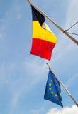 Bandeiras de Bélgica e de UE foto de stock royalty free