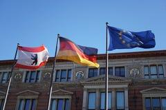 Bandeiras de Berlim, de Alemanha e da União Europeia Fotografia de Stock Royalty Free