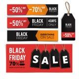 Bandeiras de Black Friday, etiquetas ajustadas Foto de Stock