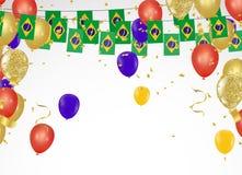 Bandeiras de Brasil da bandeira do partido da celebração e balões de Brasil garlan ilustração royalty free