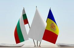 Bandeiras de Bulgária e de Andorra imagens de stock