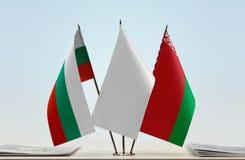 Bandeiras de Bulgária e de Bielorrússia fotografia de stock royalty free