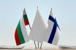 Bandeiras de Bulgária e de Finlandia foto de stock