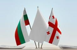 Bandeiras de Bulgária e de Geórgia imagem de stock royalty free