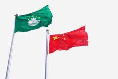 Bandeiras de China & de Macau fotografia de stock
