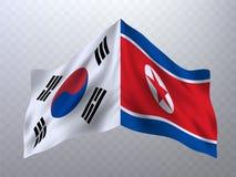 Bandeiras de Coreia do Sul e de Coreia do Norte Fotos de Stock