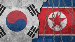 Bandeiras de Coreia do Sul e de Coreia do Norte pintadas na parede Fotos de Stock