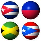 Bandeiras de Cuba Haiti Jamaica Puerto Rico Foto de Stock Royalty Free