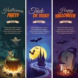 Bandeiras de Dia das Bruxas com os caráteres no fundo Paisagem do outono da noite Imagens de Stock Royalty Free
