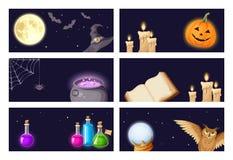Bandeiras de Dia das Bruxas com símbolos mágicos Vetor EPS-10 ilustração stock