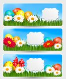 Bandeiras de Easter com ovos da páscoa Imagens de Stock Royalty Free