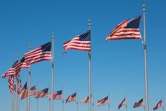 Bandeiras de Estados Unidos em torno do monumento de Washington, W Imagens de Stock