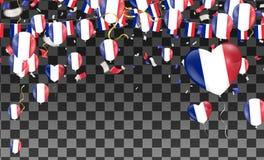 Bandeiras de França e de balões de França festão com confetes no branco ilustração do vetor