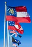 Bandeiras de Geórgia imagens de stock royalty free