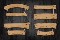 Bandeiras de madeira e fitas do vetor de Brown que penduram sobre Fotos de Stock Royalty Free
