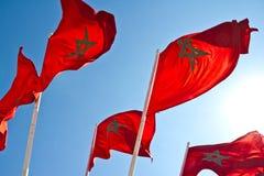 Bandeiras de Marrocos fotografia de stock royalty free