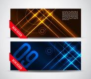 Bandeiras de néon do sumário do gráfico de vetor em cores amarelas e azuis Imagem de Stock Royalty Free