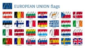 Bandeiras de ondulação da União Europeia ilustração do vetor