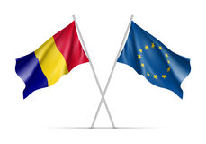 Bandeiras de ondulação de Romênia e da União Europeia ilustração do vetor