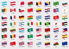Bandeiras de ondulação do mundo Imagens de Stock